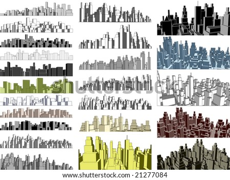 Set of simple 3-dimensional city skylines