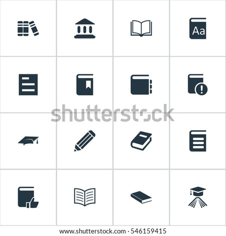 Set Of 16 Simple Education Icons. Can Be Found Such Elements As Notebook, Blank Notebook, Pen And Other.