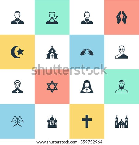 Set 16 Simple Faith Icons Can Stock Illustration 559752964