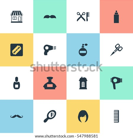 Set Of 16 Simple Hairdresser Icons. Can Be Found Such Elements As Whiskers, Scent, Premises And Other.
