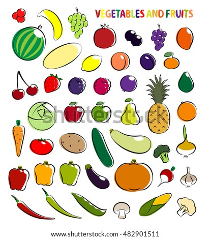Set of simple images fruit and vegetables