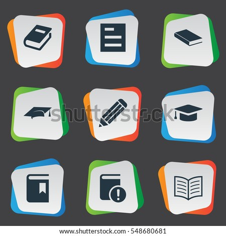 Set Of 9 Simple Knowledge Icons. Can Be Found Such Elements As Pen, Notebook, Book Cover And Other.