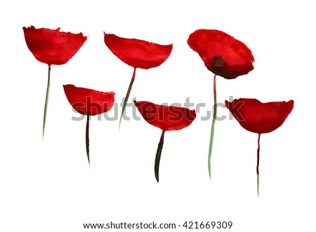set of simple poppies, hand-drawn watercolor - stock photo