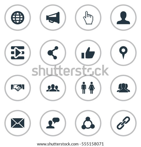 Set Of 16 Simple Social Media Icons. Can Be Found Such Elements As Letter, Group, Media Control And Other.