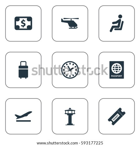 Set Of 9 Simple Transportation Icons. Can Be Found Such Elements As Air Transport, Flight Control Tower, Travel Bag And Other.