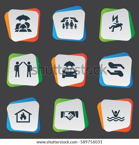 Set 9 Simple Warrant Icons Can Stock Illustration 589756031