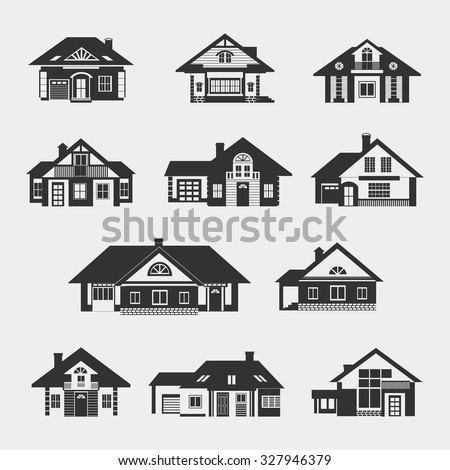 Set of single-storey houses with attics provincial. Front view. Various architectural solutions. Dark silhouettes against a light background. Raster version. - stock photo