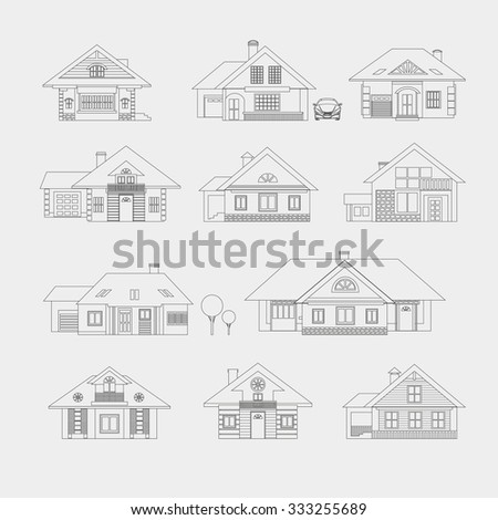 Set of single-storey houses with attics provincial. Front view. Various architectural solutions. Linear drawing on a light background. - stock photo