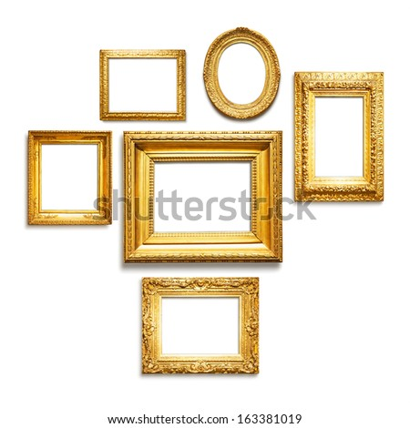 Set of six antique golden frames on white background - stock photo
