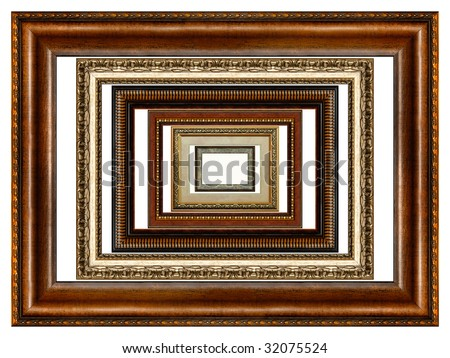 Set of six antique wooden picture frames with pattern isolated on white background - stock photo