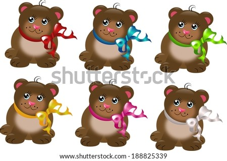 Set of six bear with different colored ribbons