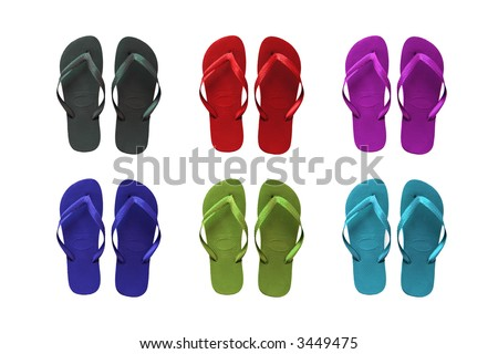 Set of six colored flip-flop beach sandals - stock photo