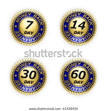 Set of six different money back guarantee seals over white each with separate clipping path. - stock photo