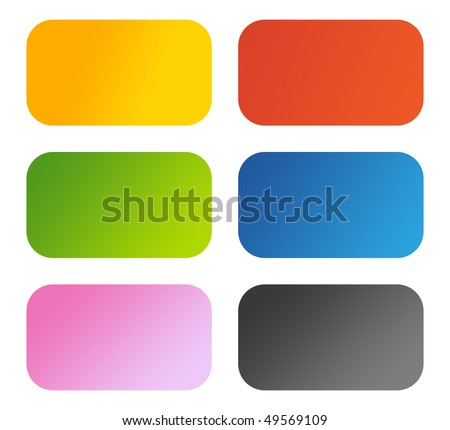 Set of six glossy aqua buttons with copy space, isolated on white background. - stock photo