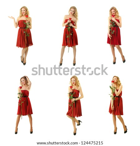 Set of six images with beautiful girl in red dress standing with rose