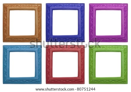 set of six modern frames isolated on white with a clipping path
