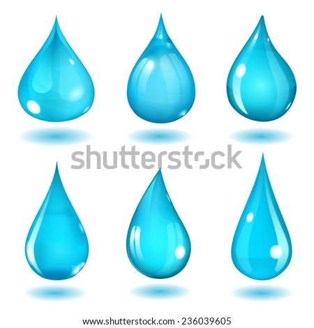 Set of six opaque drops of different forms in saturated light blue colors - stock photo