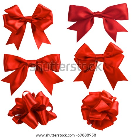 set of six red ribbon satin bows isolated on white - stock photo