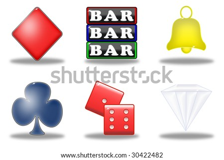 set of six symbols of the slot machine - stock photo