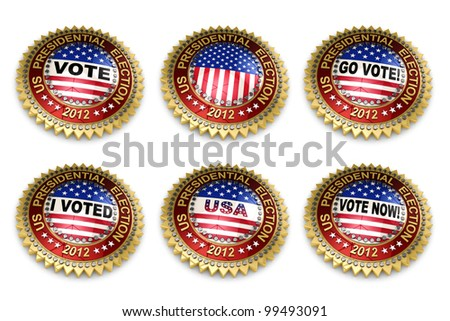 Set of six 2012 US presidential election buttons over white background including clipping path - stock photo