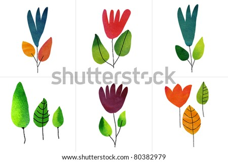 Set of six watercolor draw flowers - stock photo