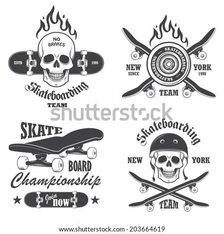 Set of skateboarding emblems, labels and designed elements. Set 1 - stock photo