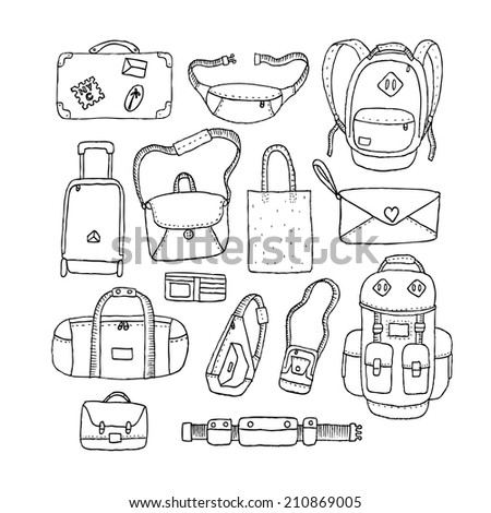 Set of Sketch Bags. - stock photo
