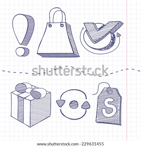 Set of sketch doodle business shopping infographics elements icons background in the box. Exclamation mark bag gift tag. Raster version - stock photo