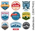 Set of ski patrol mountain badges and patches - stock photo