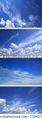 Set of skies. Blue sky with clouds sunny day - stock photo