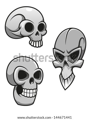 Set of skulls for tattoo or mascot design. Vector version also available in gallery - stock photo