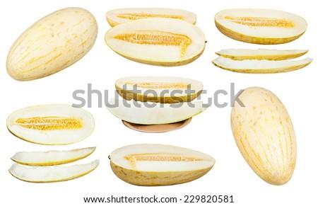 set of sliced and whole Uzbek-Russian Melons (mirzachul melon, gulabi melon, torpedo melon) isolated on white background - stock photo