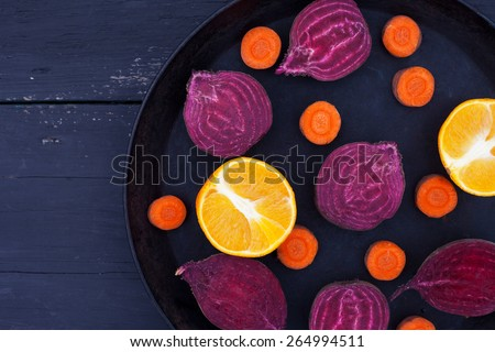 Set of sliced citrus, beet, carrot, for fresh juice. Detox .Top view. - stock photo
