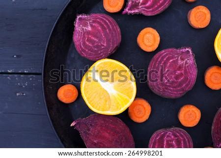 Set of sliced citrus, beet, carrot, for fresh juice. Detox .Top view. - stock photo