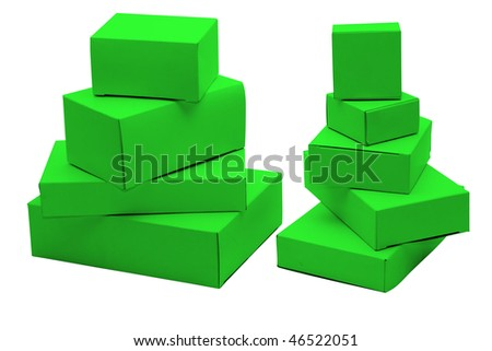 Set of small green cardboard boxes of the different size. Isolated on white. - stock photo