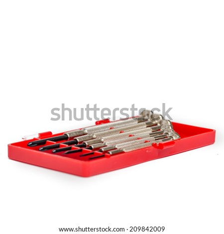 Set of small hand screwdrivers - stock photo