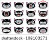 Set of 16 smiley kitten faces. all grouped. . Vector version also available in portfolio - stock vector