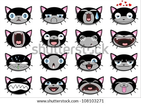 Set of 16 smiley kitten faces. all grouped. . Vector version also available in portfolio - stock photo