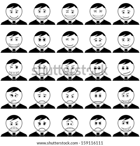 Set of smileys symbolizing various human emotions: men of business change in suits and ties, black contour on white background. - stock photo