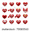 Set of smilies of heart shape with many emotions. - stock photo