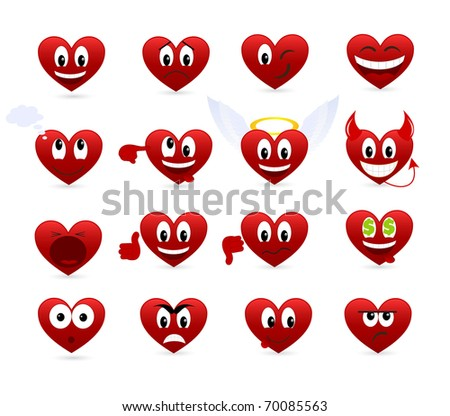 Set of smilies of heart shape with many emotions.