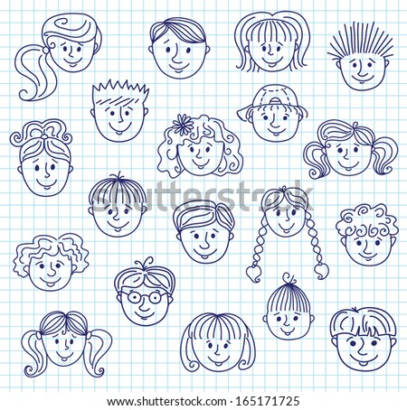 Set of smiling children faces. Doodle style illustration on a squared paper. - stock photo