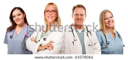 Set of Smiling Male and Female Doctors or Nurses Isolated on a White Background. - stock photo