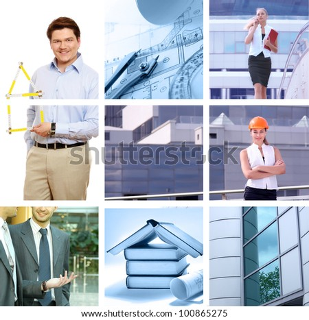 Set of smiling workers people - stock photo
