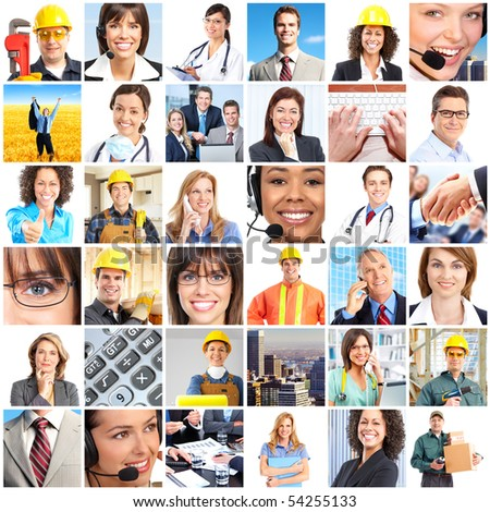 Set of smiling workers people. - stock photo