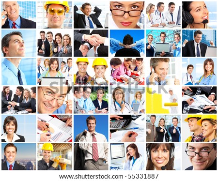 Set of smiling workers people. Business people, businessman, doctors, builders - stock photo