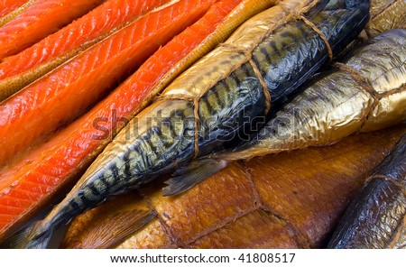 Set of smoked fish. Fish background. - stock photo