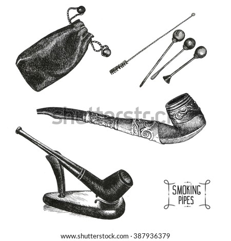 Set of smoking pipes, art drawings. Part of collection. - stock photo