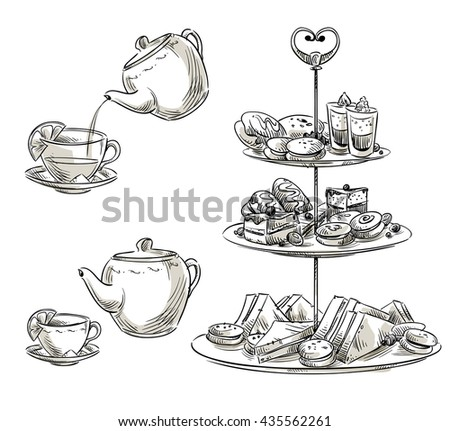Set of snacks on a tray. Teatime sketch.  - stock photo