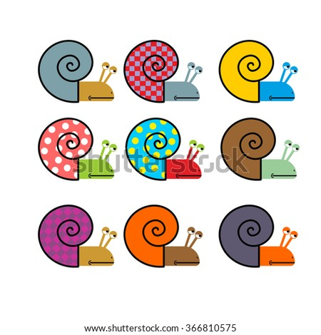 Set of snail with colored shell.